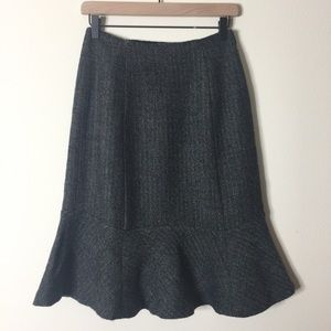 Ann Taylor | Gray Wool Tweed Trumpet Skirt Sz 6